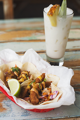 Crispy Snapper Tacos and Pina Colada