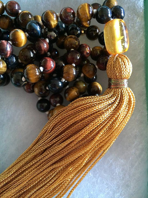 3 Tiger Eye Mala Necklace - Blue, Gold, Red