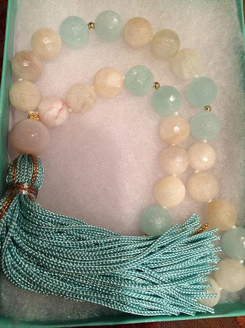 Moon Stone Mala Necklace - Mix