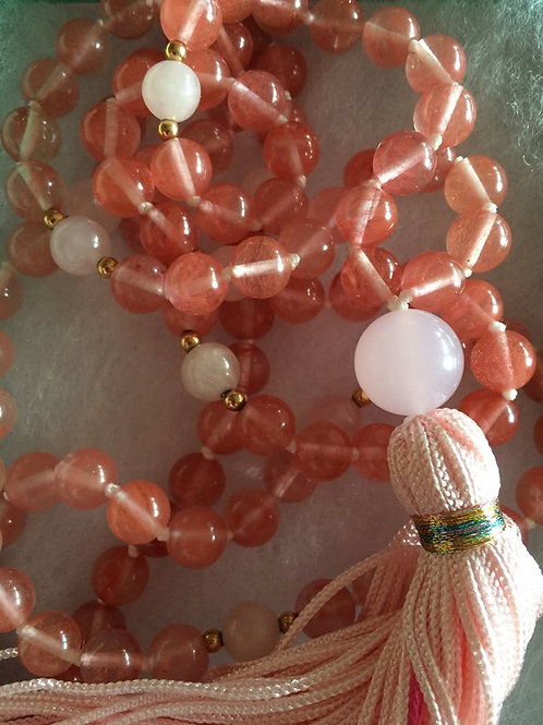 Pink Quartz Crystal Mala Necklace