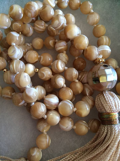 Mother of Pearl Mala Necklace - Cream