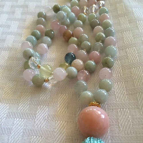 Kunzite Mala Necklace - Multi Color