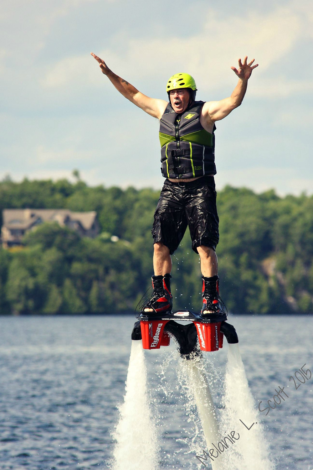 Dan trying the Flyboard for the first time.  Photo courtesy of Melanie Scott.