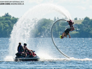 Flyboarders and surfers unite on the beach