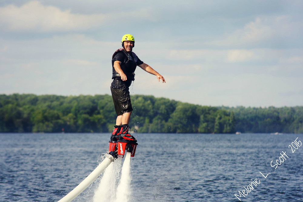 Don, being very brave and trying the Flyboard for the first time.  Photo courtesy of Melanie Scott.