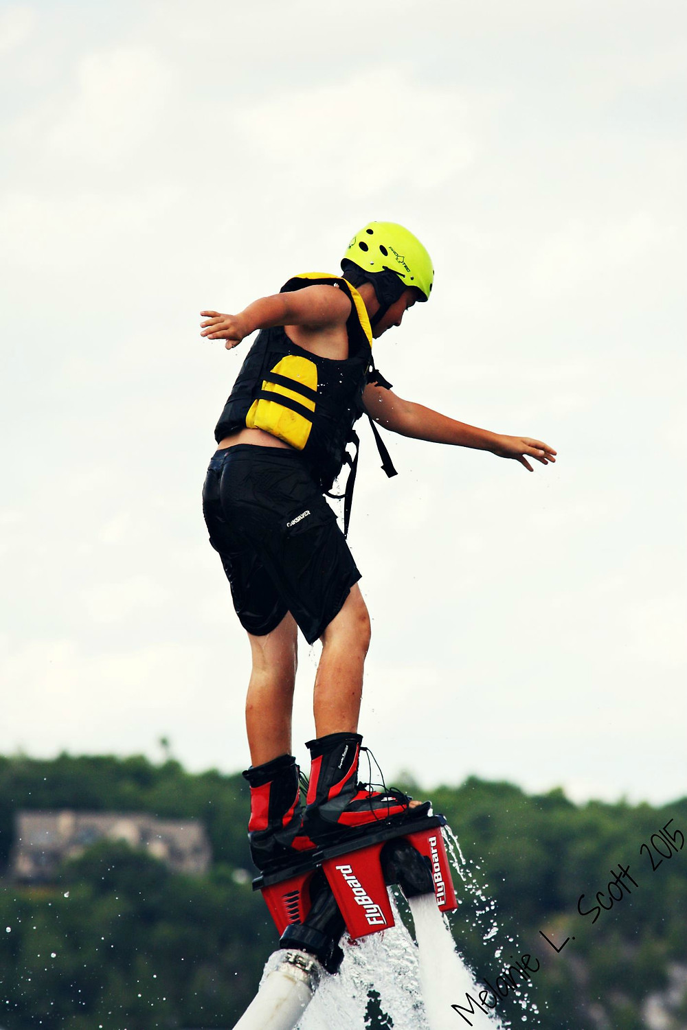 Ben on the Flyboard for the first time.  Photo courtesy of Melanie Scott.