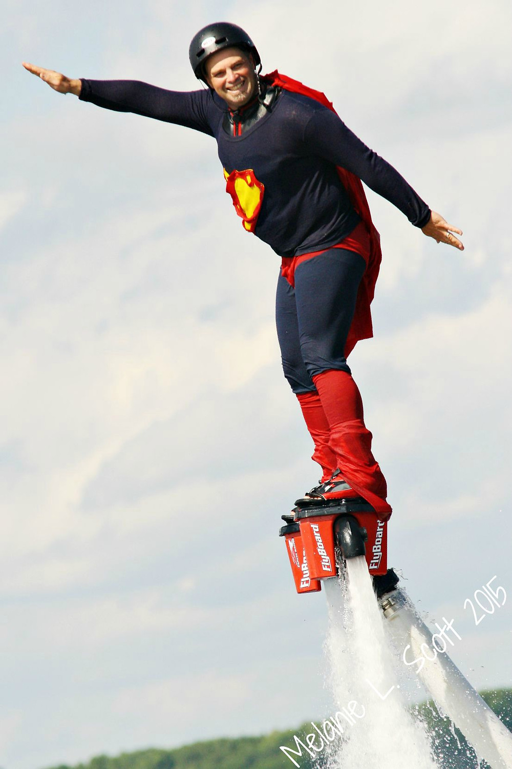 Kevin as superman putting on a great show.  Photo courtesy of Melanie Scott.