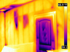 Infrared reveals moisture in wall and ceiling