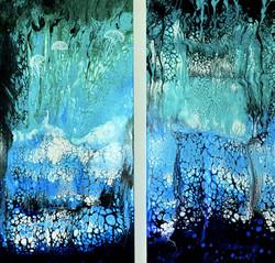 """Dwa obrazy akryl 2* 50cm x 100cm pt.""""Podwodny świat"""" (2020)"""