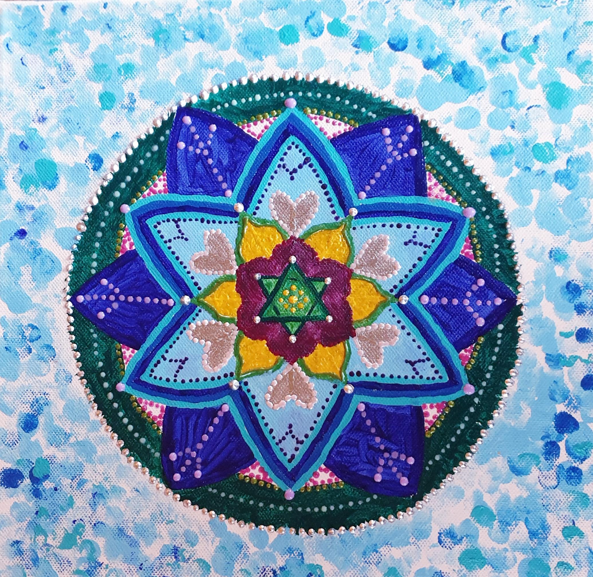 "Obraz akryl 30cm x 30cm pt. ""Mandala spokoju"" (2019)"