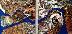 """Dwa akrylowe obrazy tworzące całość - w sumie 102cm x 50cm pt. """"Mars"""" (2020)"""