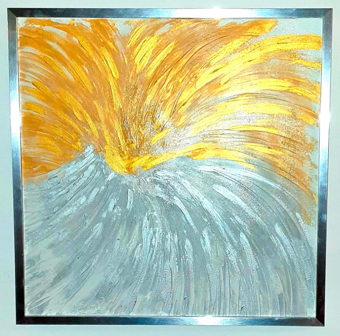 """Obraz akryl 54cm x 54cm pt. """"Inny wymiar"""" (2019) w pięknej srebrnej ramie."""
