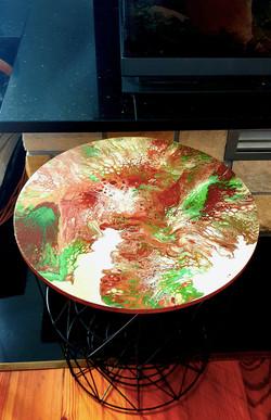 """Lekki, nowoczesny stolik. Blat stolika z akrylowym obrazem 40cm pt. """"Korzenie"""" (2020)"""