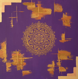 "Obraz akryl 60cm x 60cm pt. ""Złota Mandala"" (2020)"