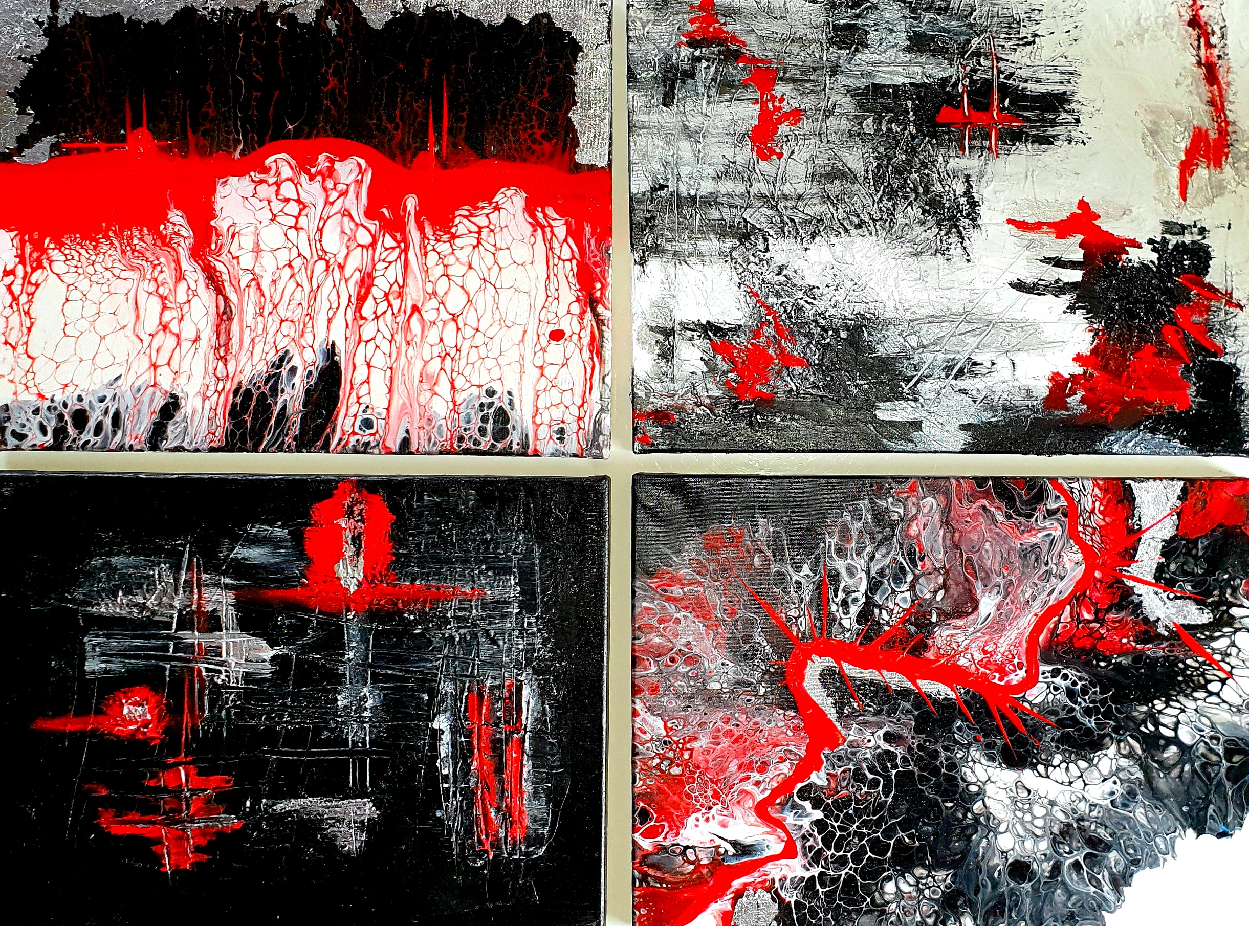 """Obraz składający się z 4 części obrazów 40cm x 30cm pt.""""Adrenalina"""" (2020)"""