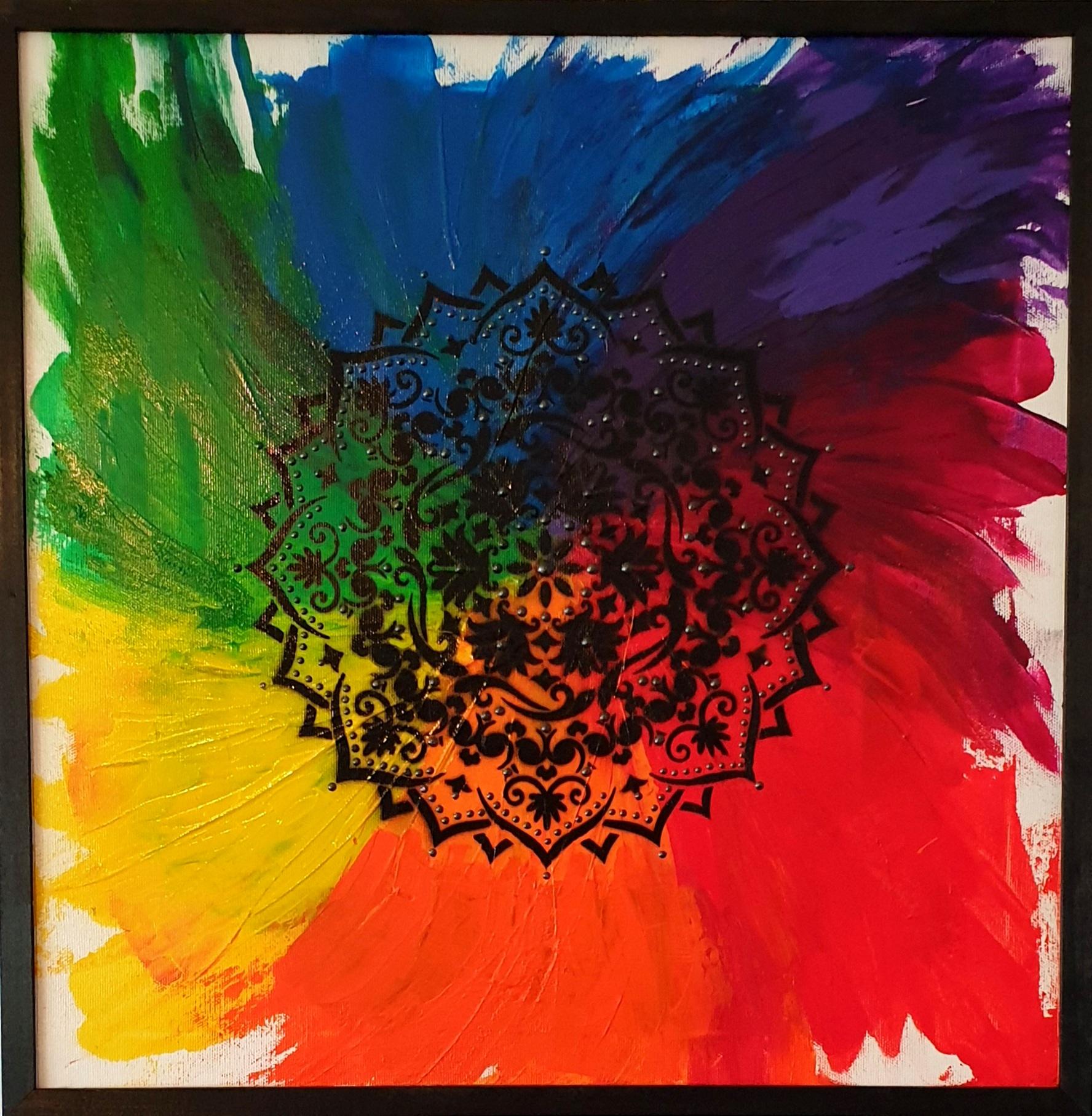 """Obraz akryl 53cm x 53cm pt. """"Mandala czakr"""" (2020)"""