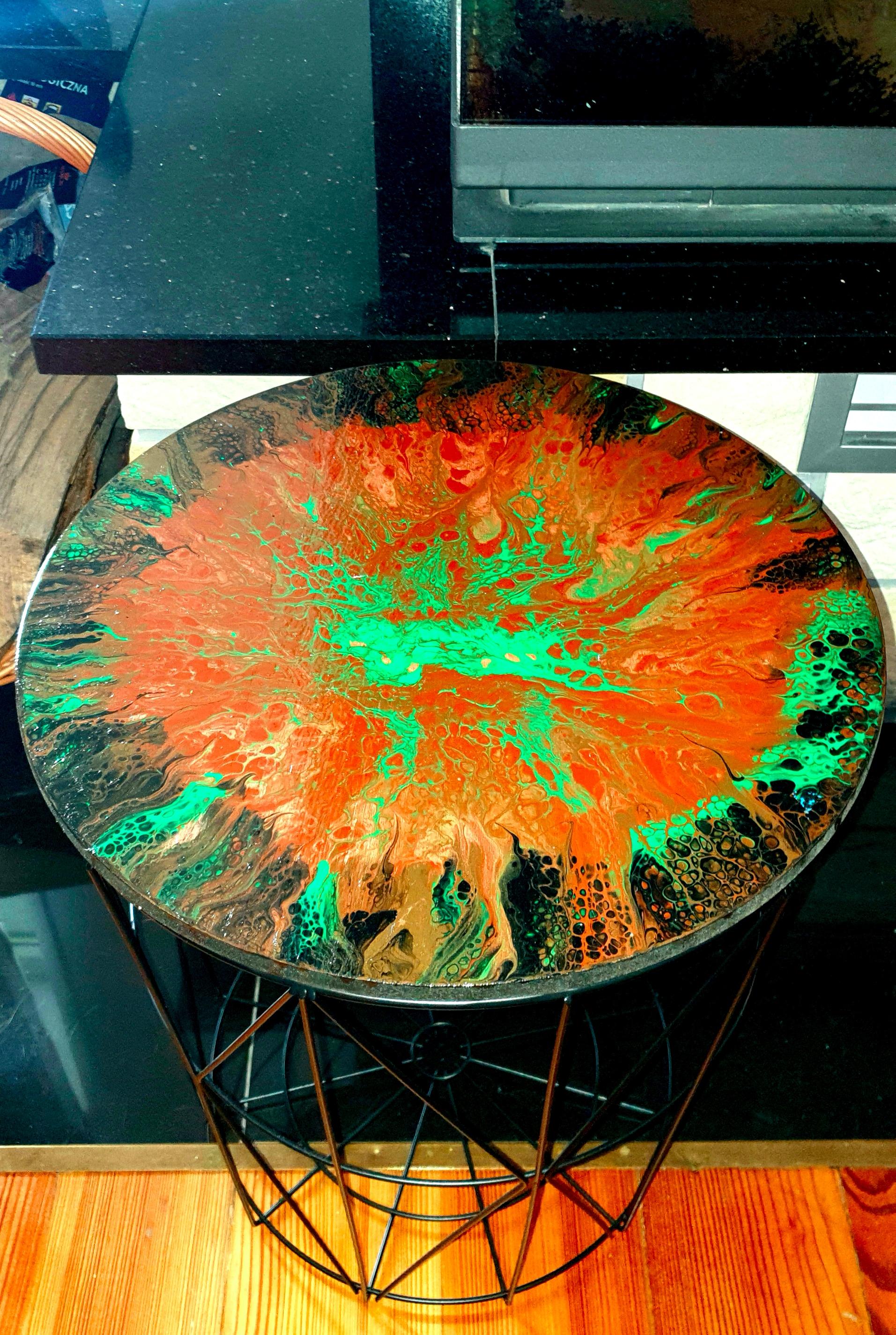 """Lekki, nowoczesny stolik. Blat stolika z akrylowym obrazem 40cm pt. """"Otchłań"""" (2020)"""