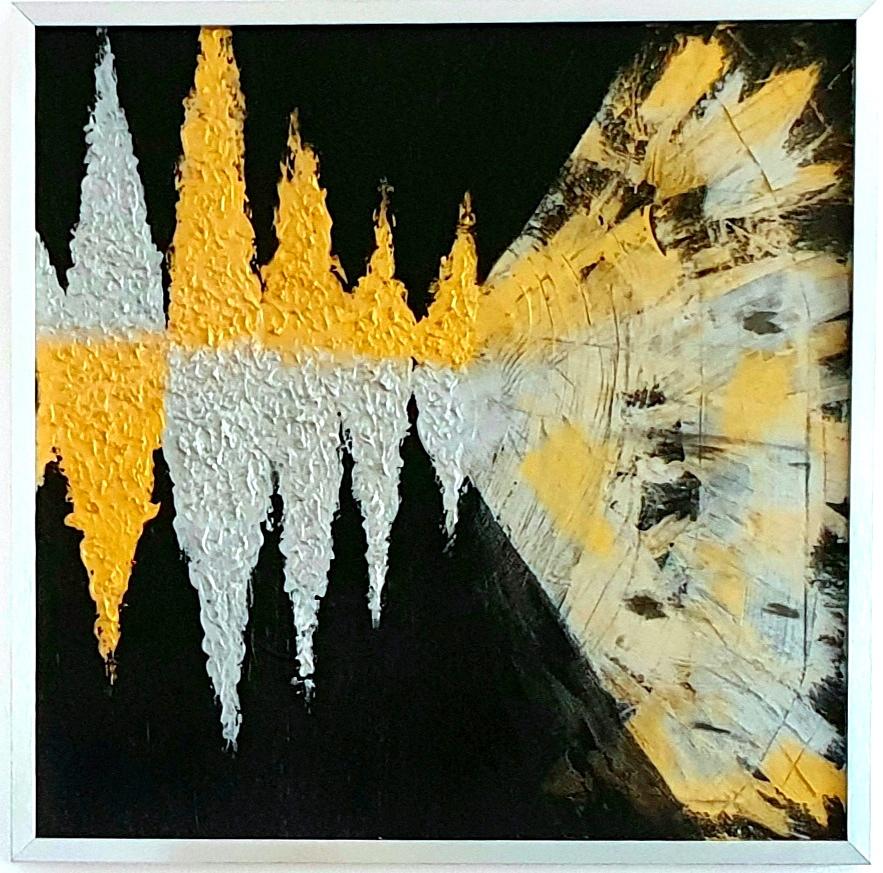"""Obraz akryl 54cm x 54cm pt. """"Dźwięk"""" (2019) w pięknej srebrnej ramie."""