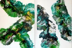 """Dwa obrazy akrylowe każdy 70cm x 100cm pt.""""Magia zieleni II"""" (2020)"""