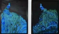 """Dwa akrylowe obrazy tworzące całość - w sumie 86cm x 54cm pt. """"Pawie"""" (2020)"""