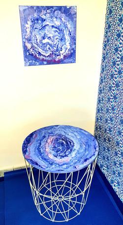 """Komplet - stolik kawowy plus obraz 30x30 pt.""""Marmurowe niebo"""" (2020)"""