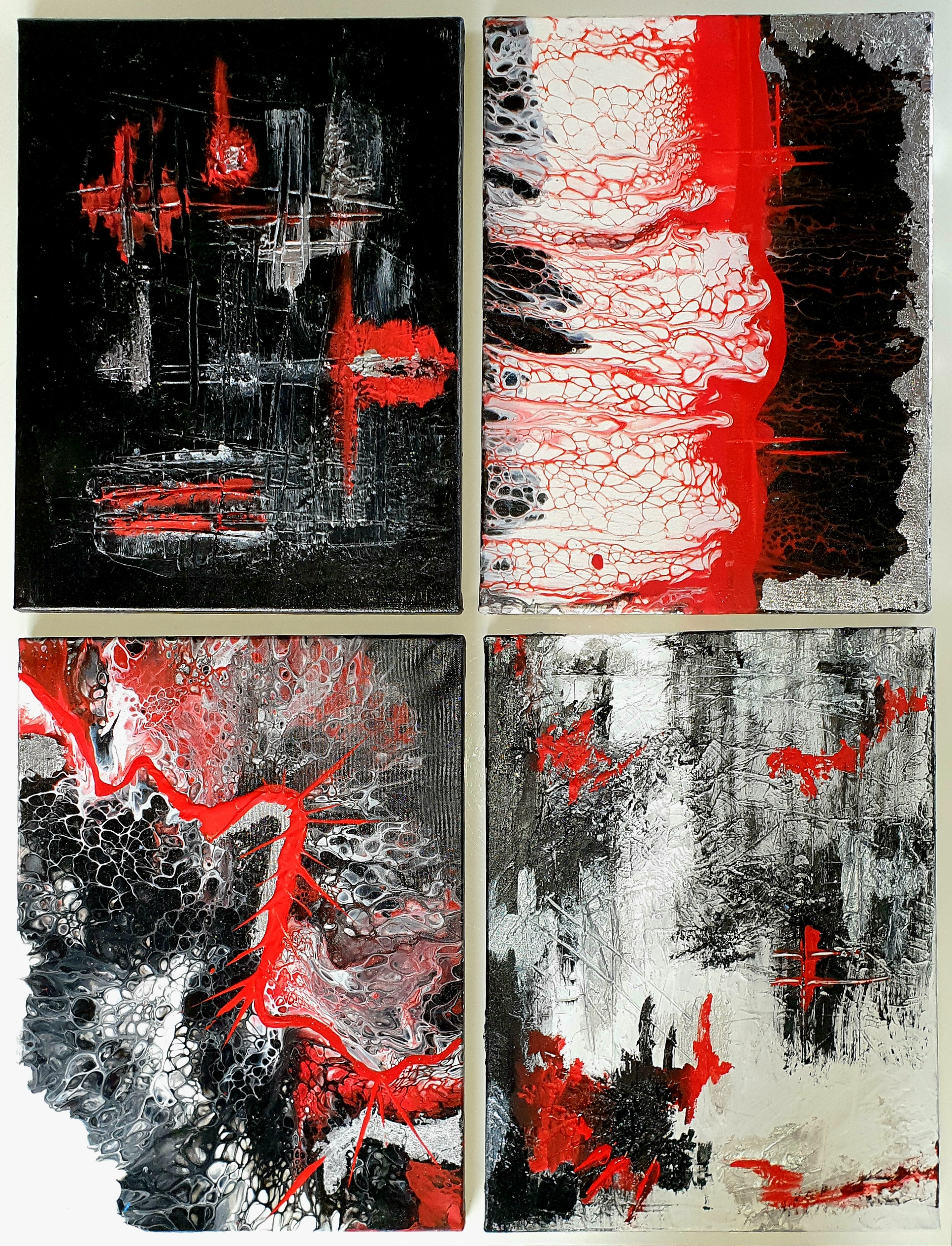 """Obraz składający się z 4 części obrazów 30cm x 40cm pt.""""Adrenalina"""" (2020)"""