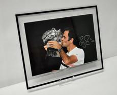 Autographed Roger Federer celebrating his 20th Grand Slam Victory