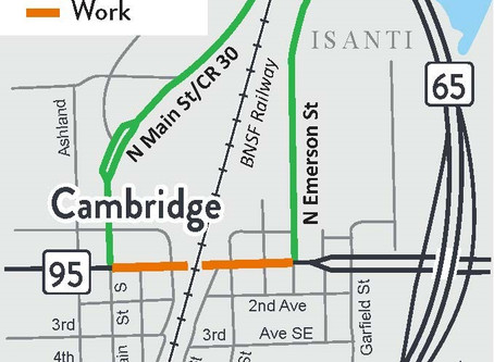 Construction on Highway 95 Railroad Crossing in Cambridge Begins Tuesday