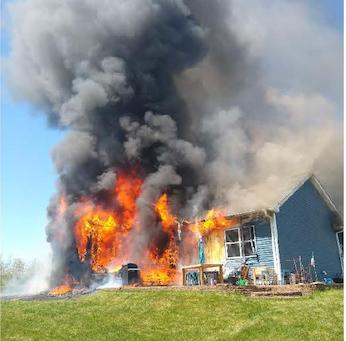 Fire Destroys Home near Cambridge