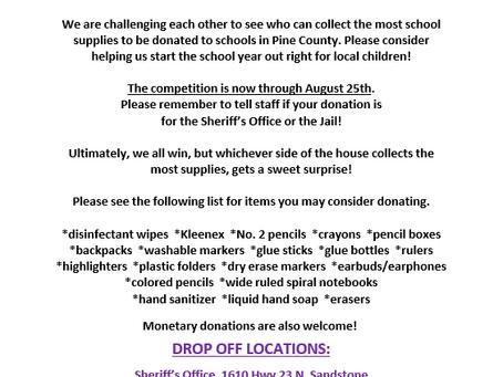 Pine Co. School Supply Drive Begins