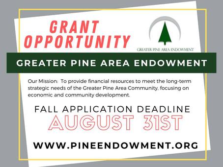 Fall Deadline for Greater Pine Area Endowment Set for August 31