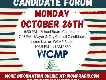 Pine Area Chamber & WCMP to Host Candidate Forum on Monday