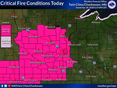 NWS Issues Red Flag Warning for East Central MN Counties