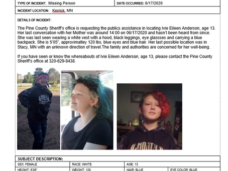 Pine Co. Sheriff Asks for Help Locating Missing Girl