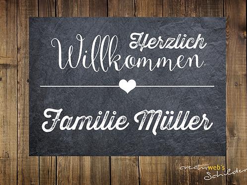 """""""Herzlich Willkommen"""" - Schiefer"""