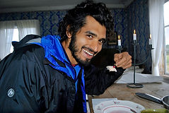 Anthony Morano from the Recipe Hunters, Eating Ostkaka, Sweden