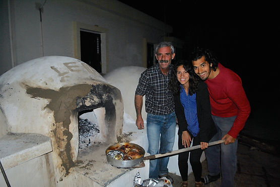 Leila Elamine, Anthony Morano, and Kamel with the Firin Kebab, Hot out of the Clay Oven, Cyprus