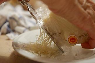 Shredding the Parmigiano Reggiano, White Mushroom Arugula Salad Recipe