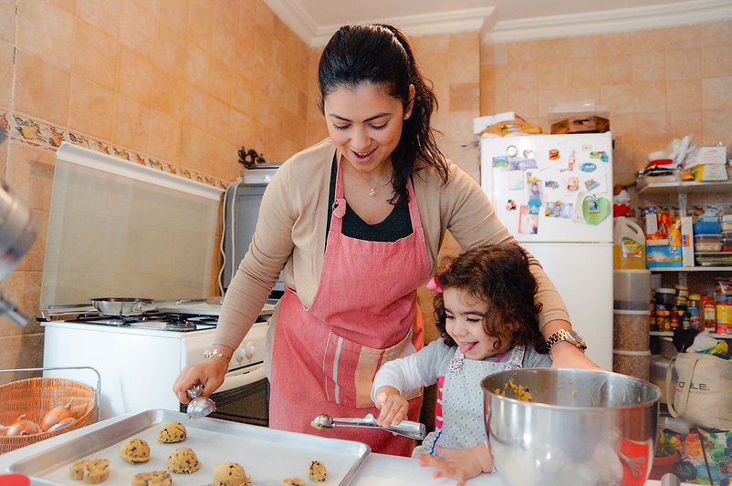 Hanan and her daughter cooking, Passion for Dessert, Beirut, Lebanon