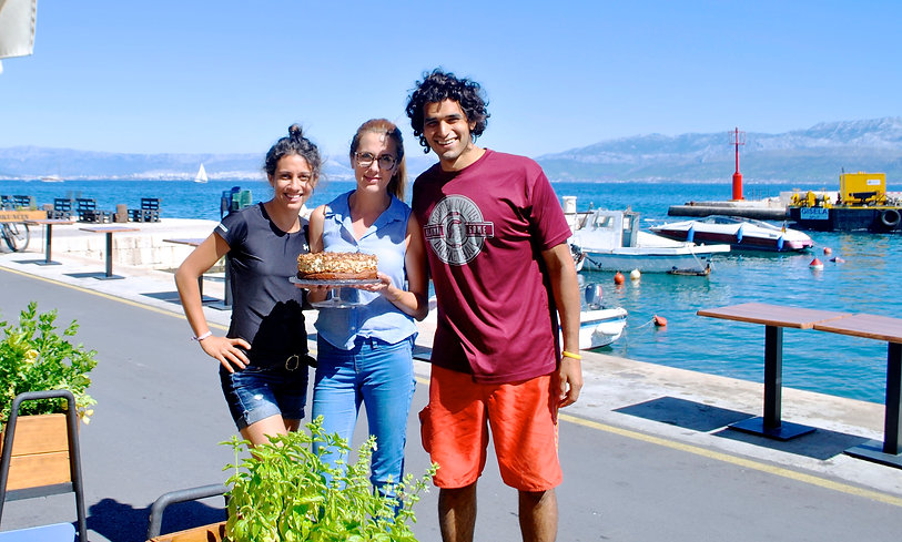 The Recipe Hunters, Leila and Anthony with Matea and her Walnut Meringue Cake in Sutivan, Brač, Croatia