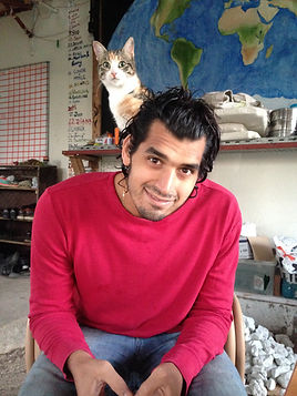 Anthony Morano with Cat, Grol Garden, Cyprus