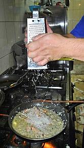 Grating Cheese, Ante's White Scampi Risotto Recipe, Konoba Lukin, Brač, Croatia