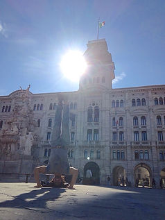 Anthony doing a handstand in Trieste, Italy