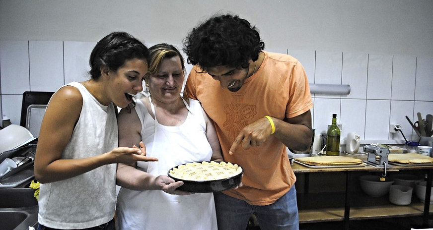 Ane, Leila, and Anthony with the Imotski Torta