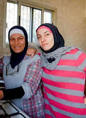 Ranine and her mother cooking in their kitchen in Ketermaya, Lebanon