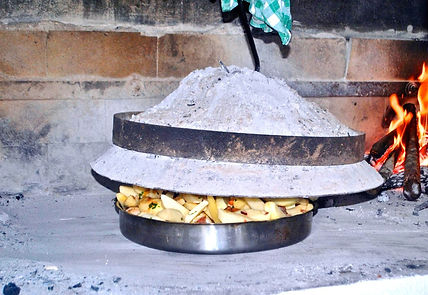 Placing the peka bell over the veal and potatoes, Peka Recipe, Croatian Traditional Recipes