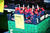 Frutti di bosco norvegese al mercato Bergen pesce in Norvegia