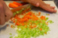 Chopped Celery and Carrots - Simona's Polpette - Italian Meatballs Recipe
