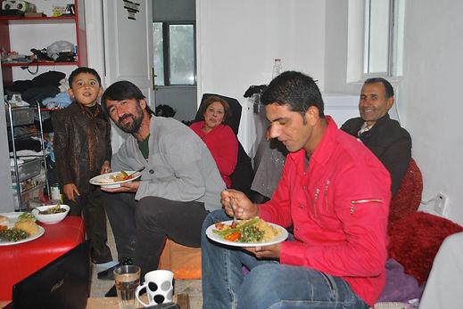 Eating Thanksgiving Dinner, GROL Garden, Cyprus
