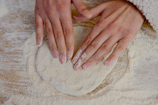 forming dough, manaeesh recipe, beirut, lebanon